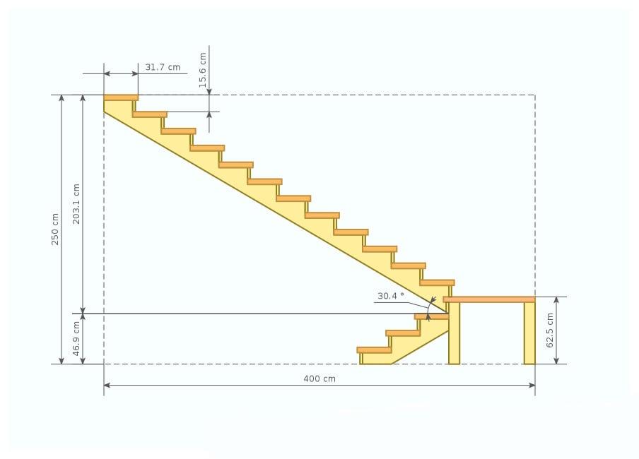 Расчёт лестницы с поворотом на второй этаж своими руками 49